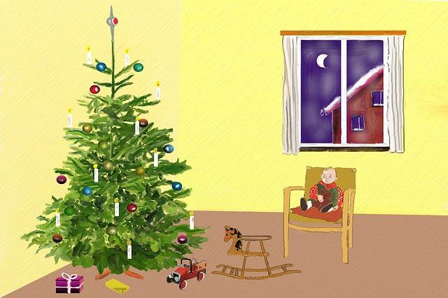vánoční strom a dárky