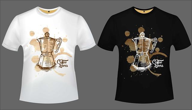 tričko černé a bílé se stejným potiskem, s konvičkou kávy