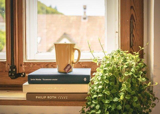 knihy s čajem a rostlinou u okna